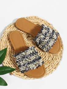 Faux Pearl Detail Flat Sandals