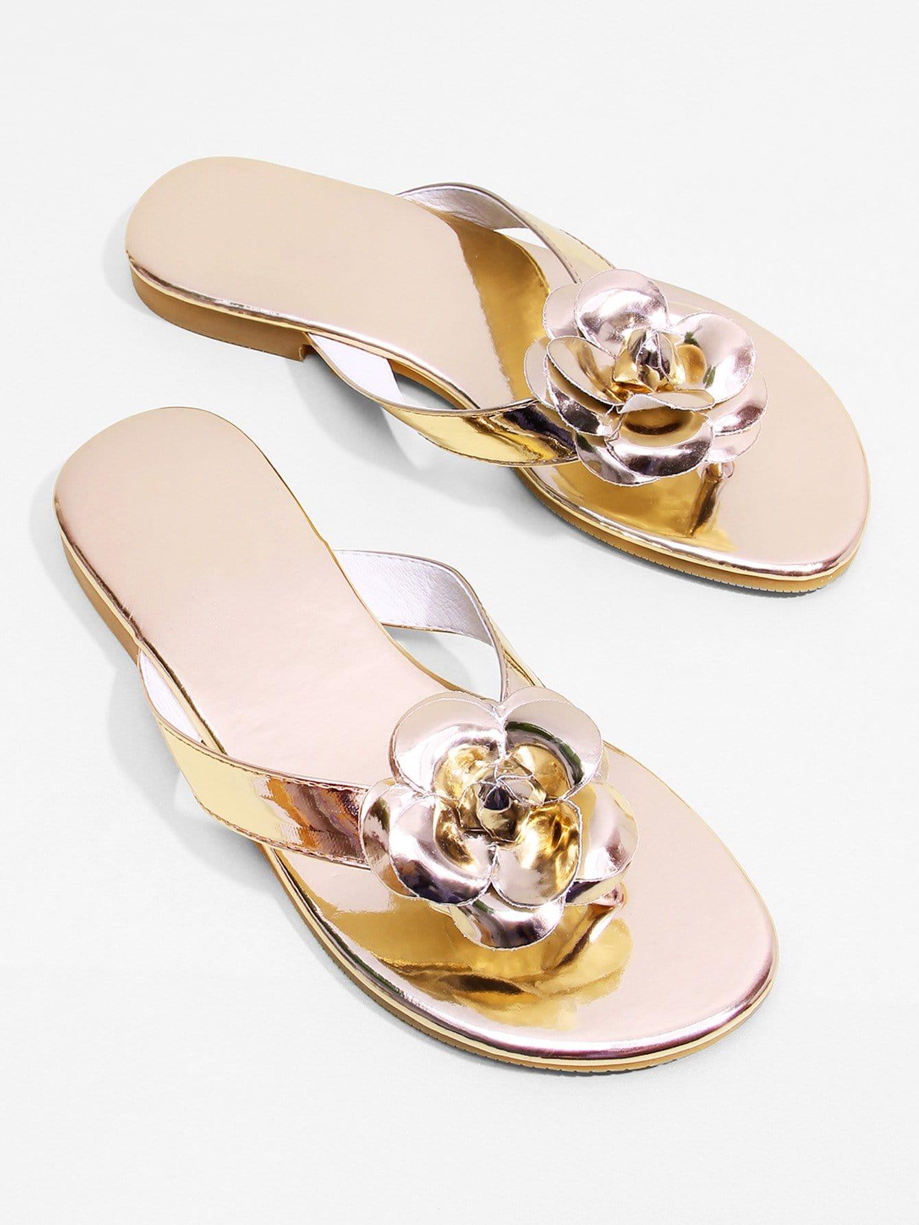 Rose Decorated Toe Post Flat Sandals rose decorated toe post flat sandals