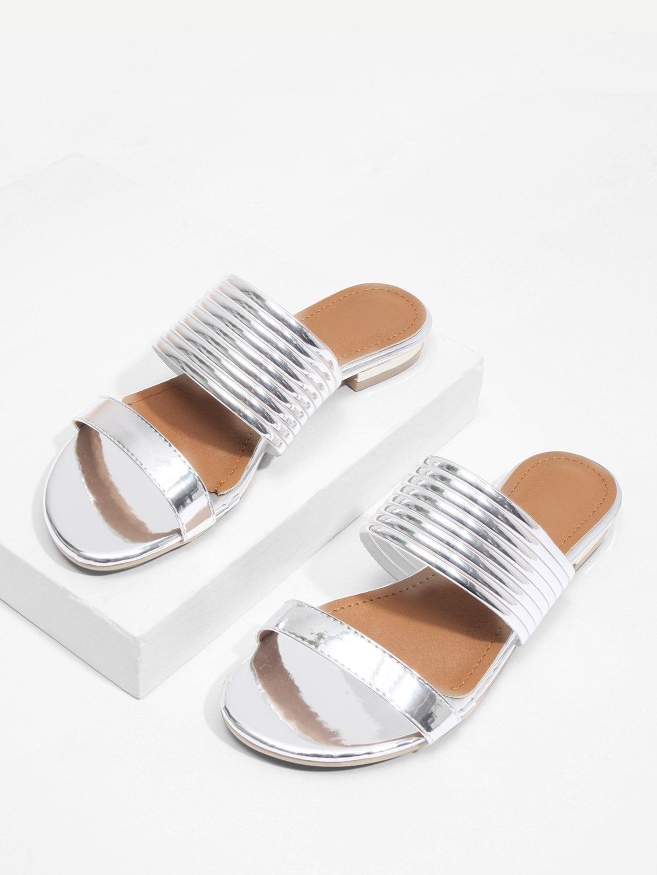 Купить Металлические плоские сандалии, null, SheIn
