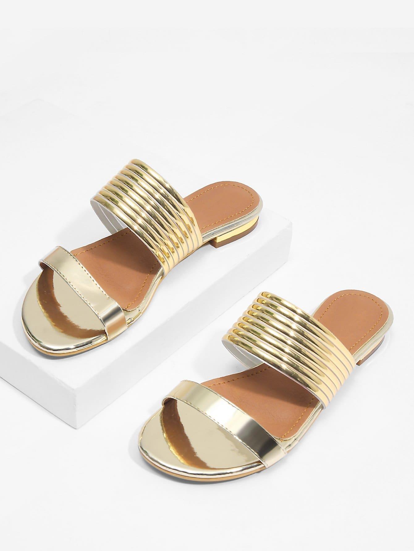 Metallic Flat PU Sandals metallic strappy flat sandals