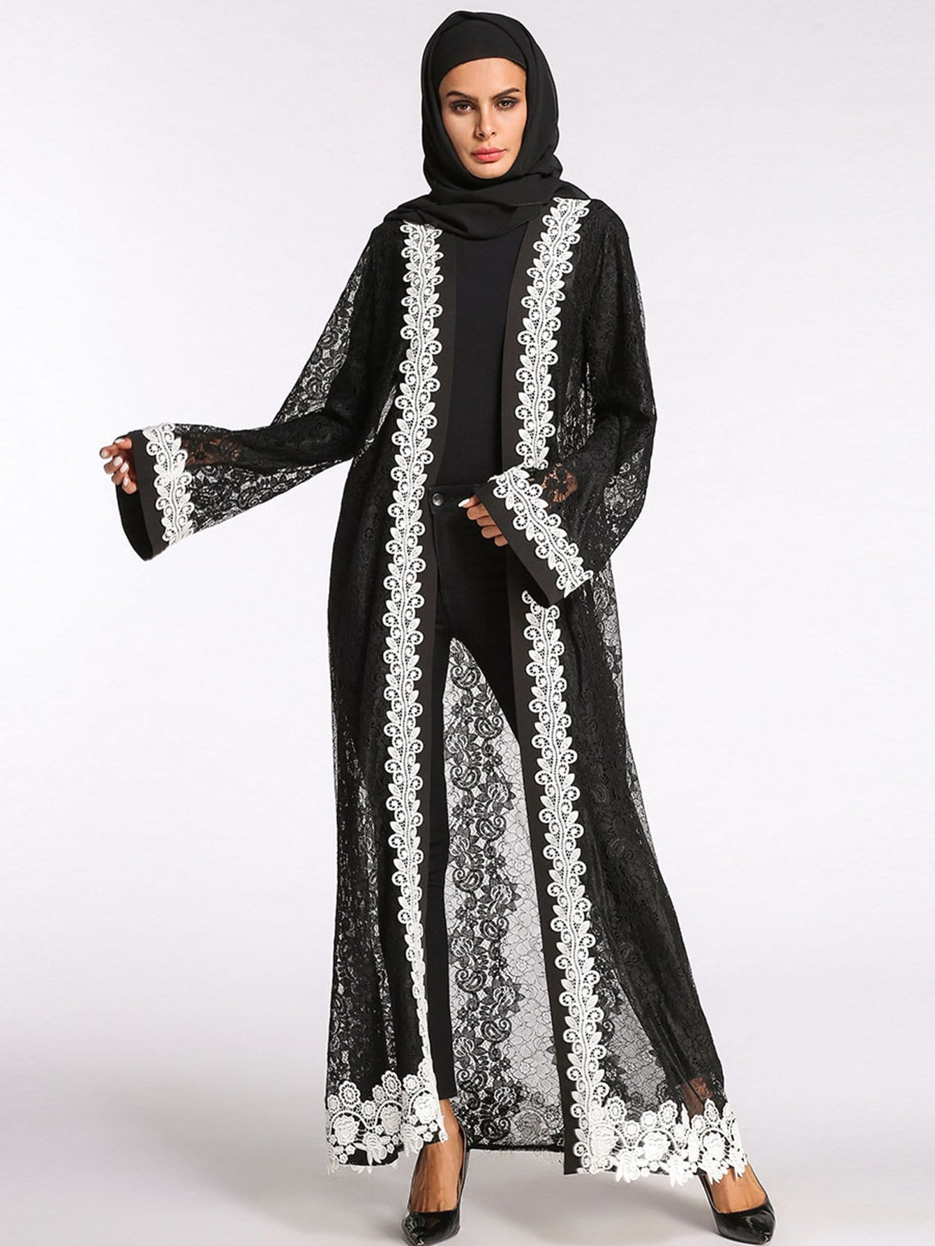 Lace Crochet Contrast See Through Abaya все цены