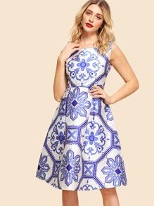 Porcelain Print Tank Dress