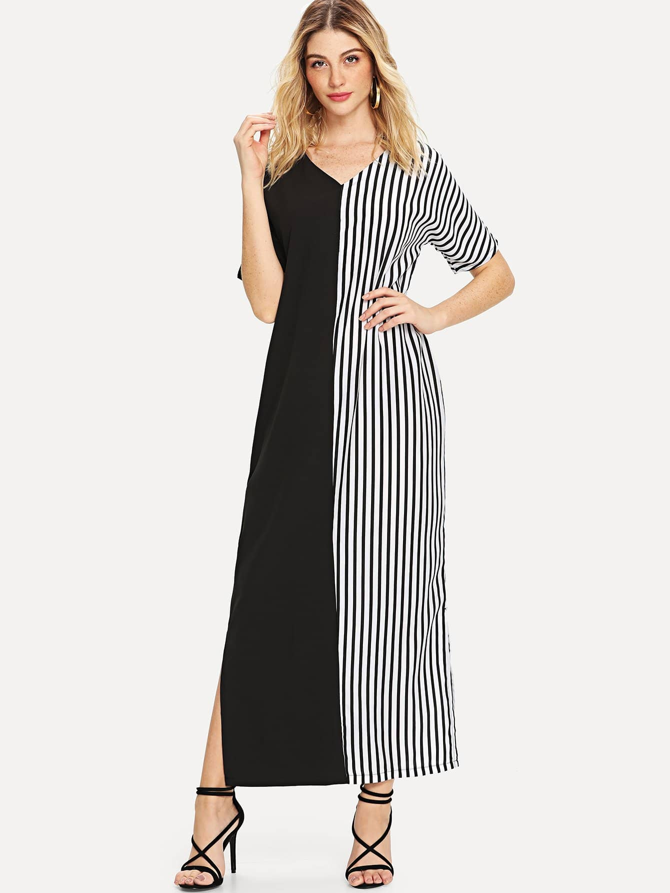 Stripe Contrast Two Tone Longline Dress полотенце для ванной two tone grafik quelle quelle 239974