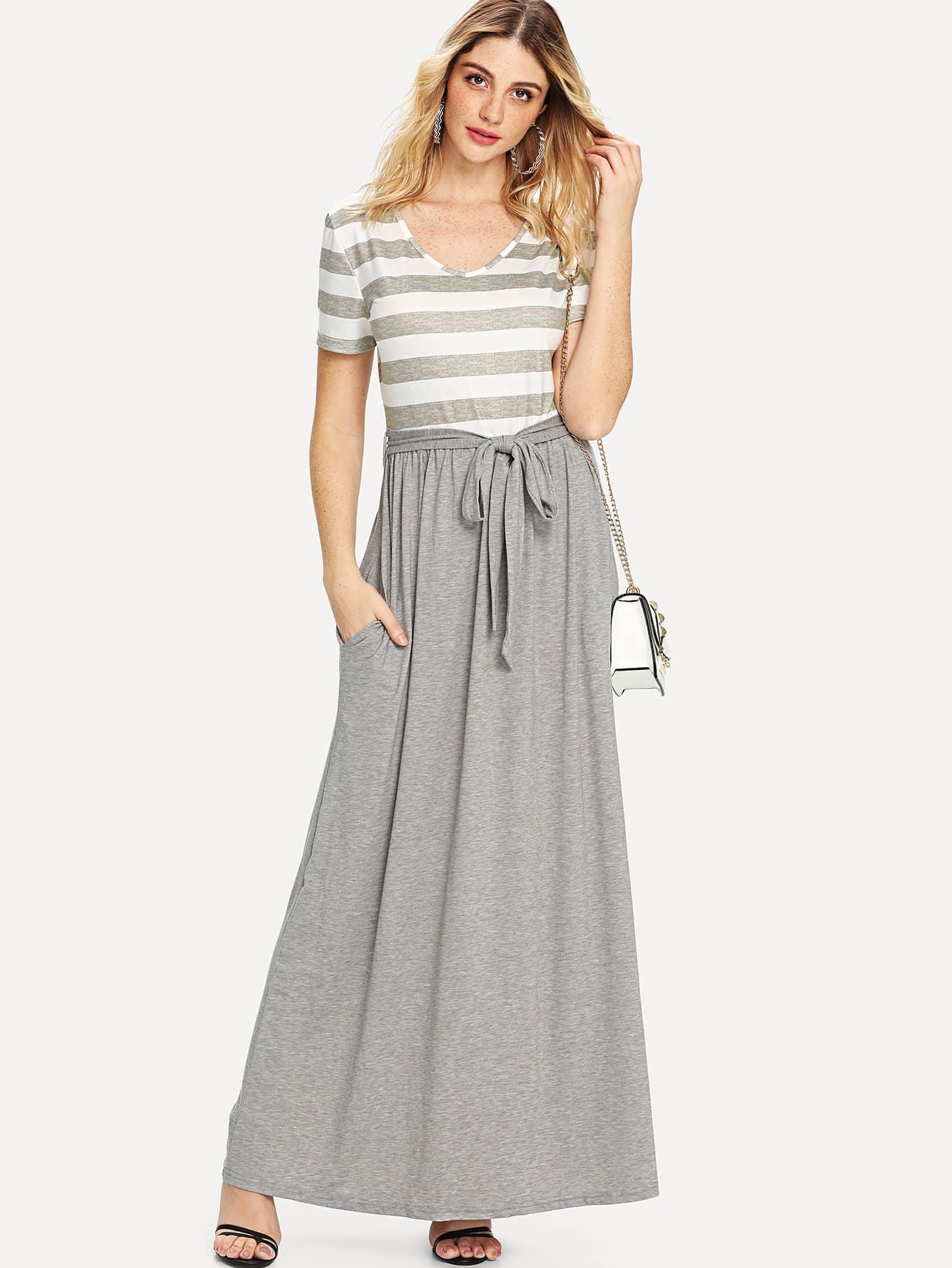Tie Front Stripe Contrast Longline Dress