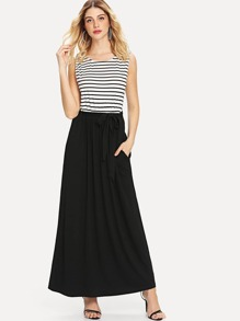 Stripe Contrast Hidden Pocket Dress
