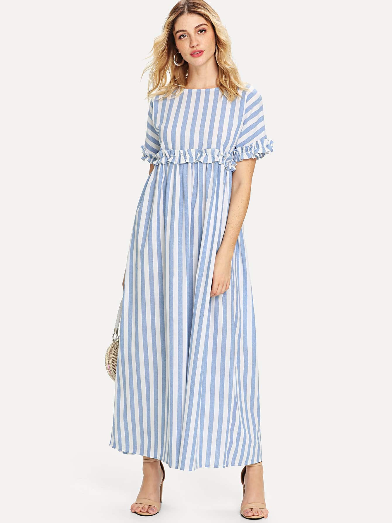 Ruffle Contrast Stripe Longline Dress striped longline tshirt