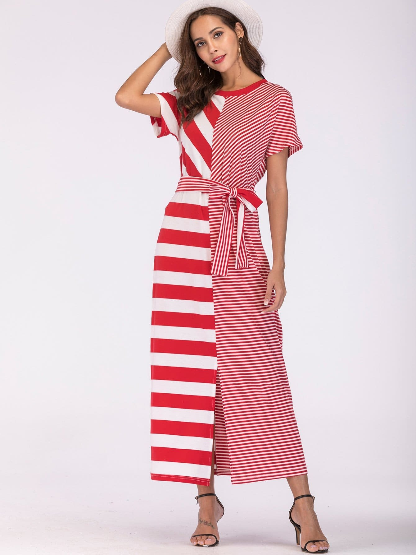 Stripe Contrast Split Self Tie Dress split sleeve self tie bodysuit