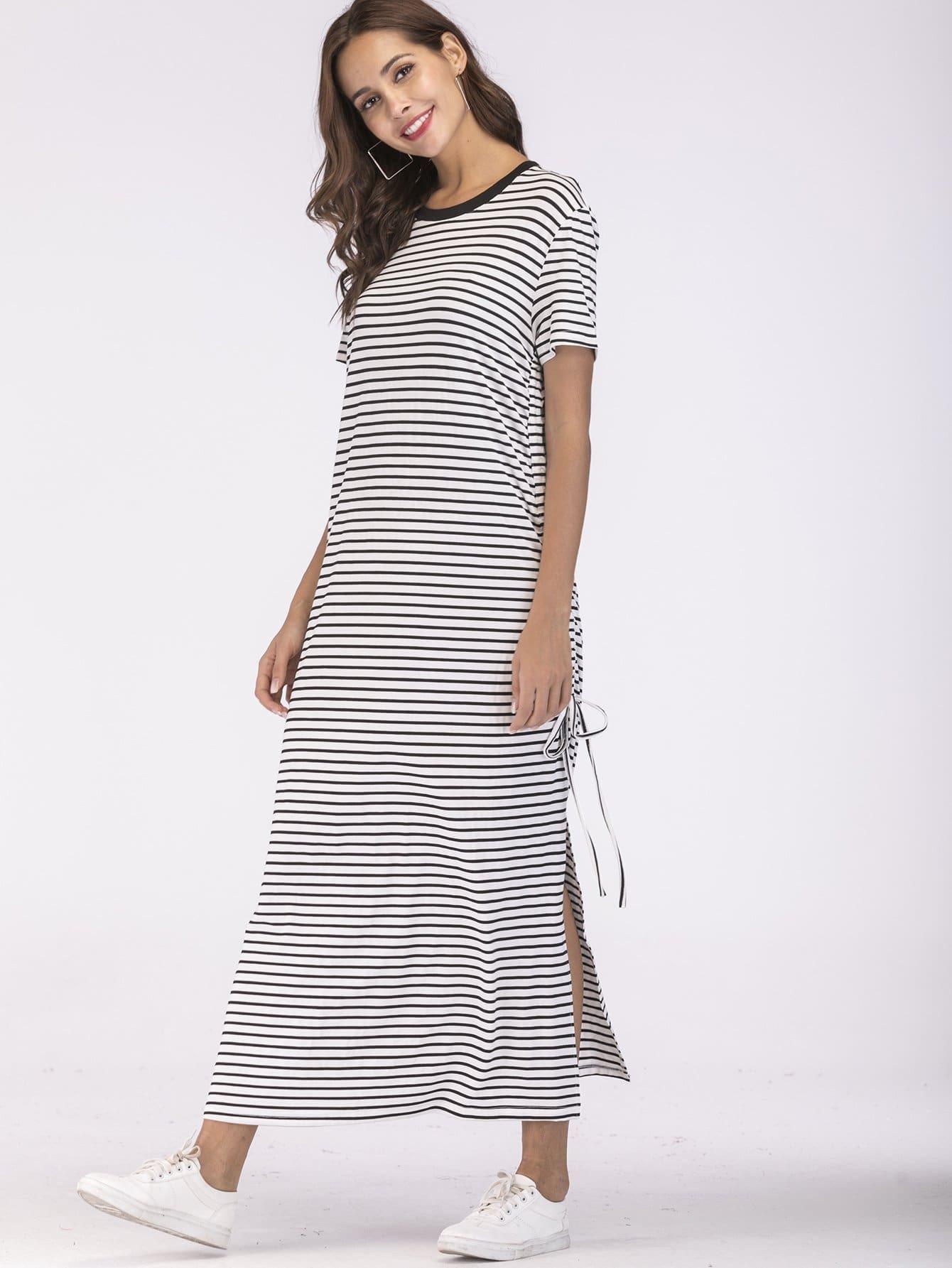 Купить Платье с луком, боковой щелью и полосками, null, SheIn