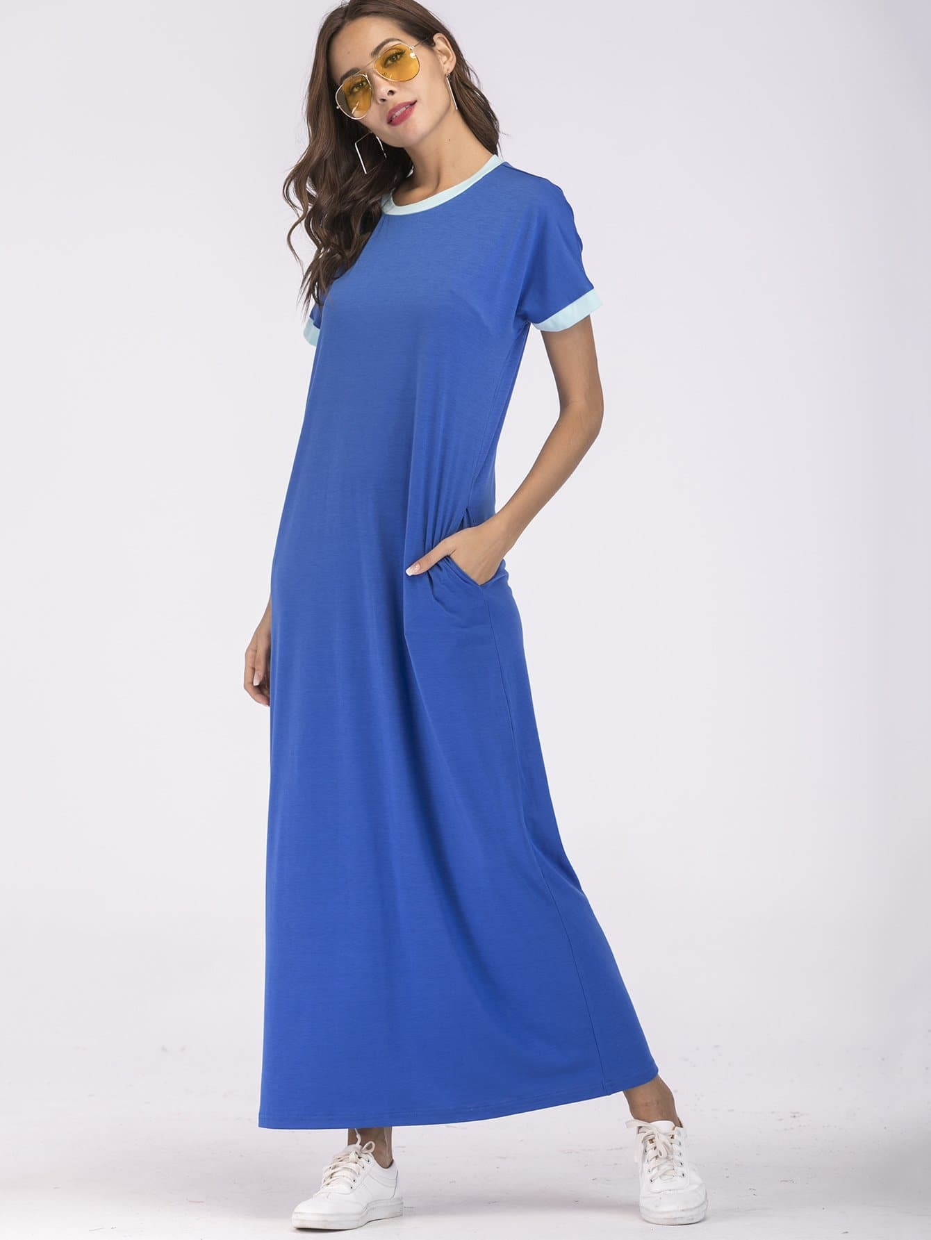 Contrast Binding Longline Dress цена
