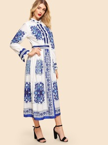 Lace Contrast Porcelain Print Dress