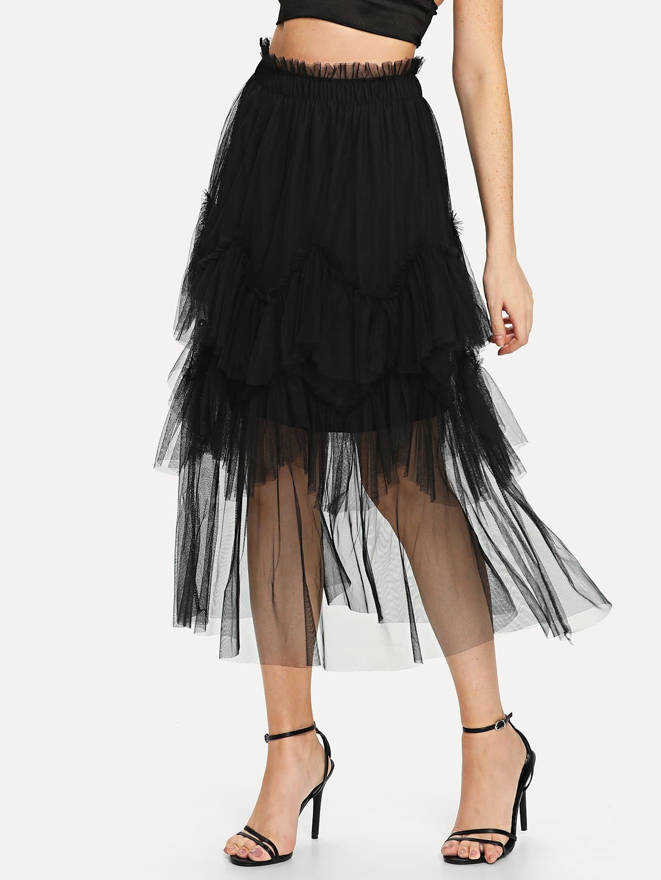 Layered Flounce Mesh Skirt flounce light up cosplay skirt
