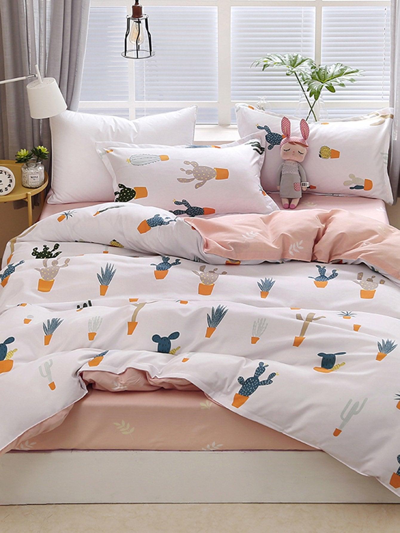 Купить Комплект постельного белья полоски и кактус, null, SheIn