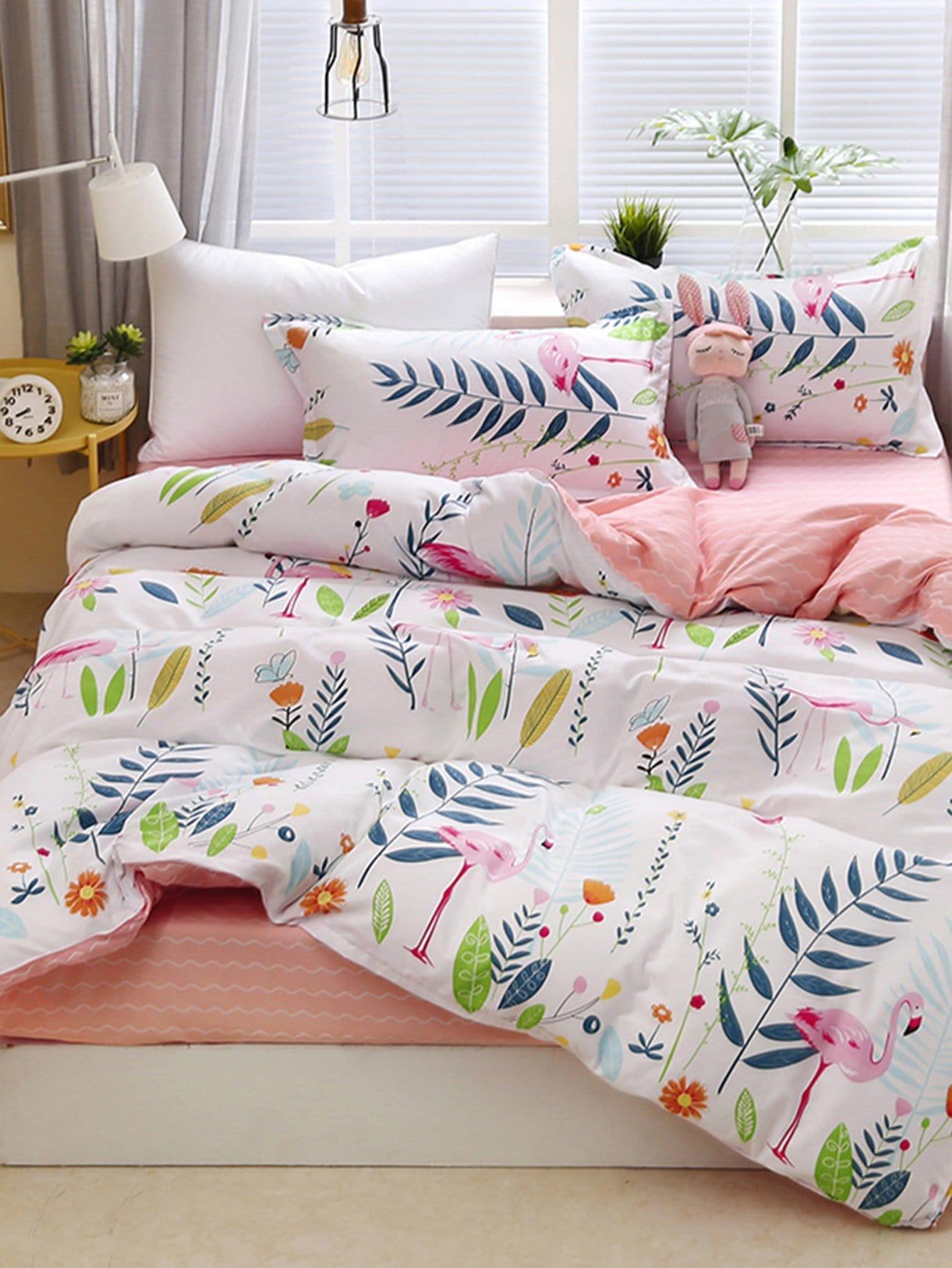 Купить Комплект постельного белья растения и зверюшки, null, SheIn