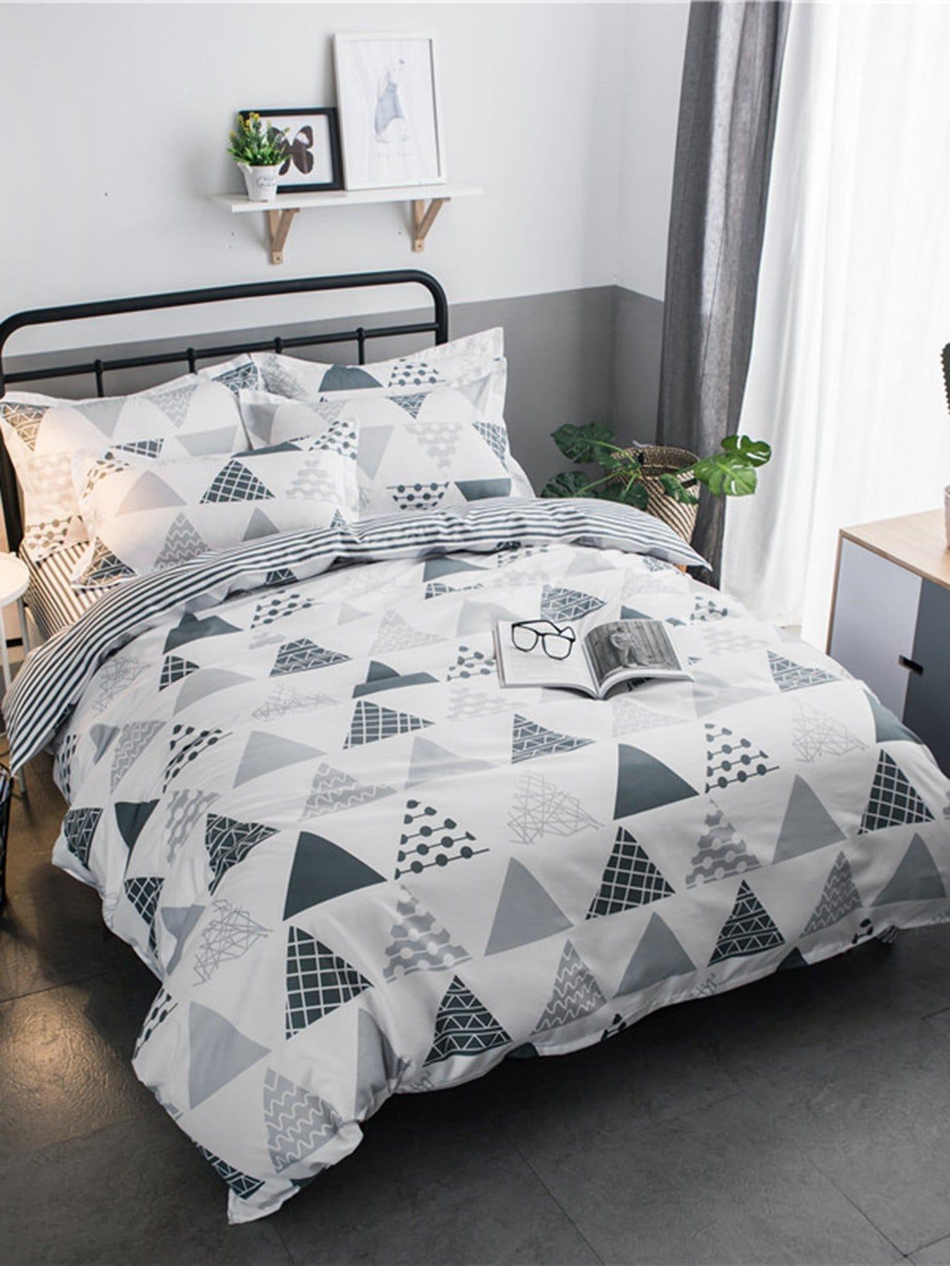 Купить Комплект постельного белья геометрия и полоски, null, SheIn