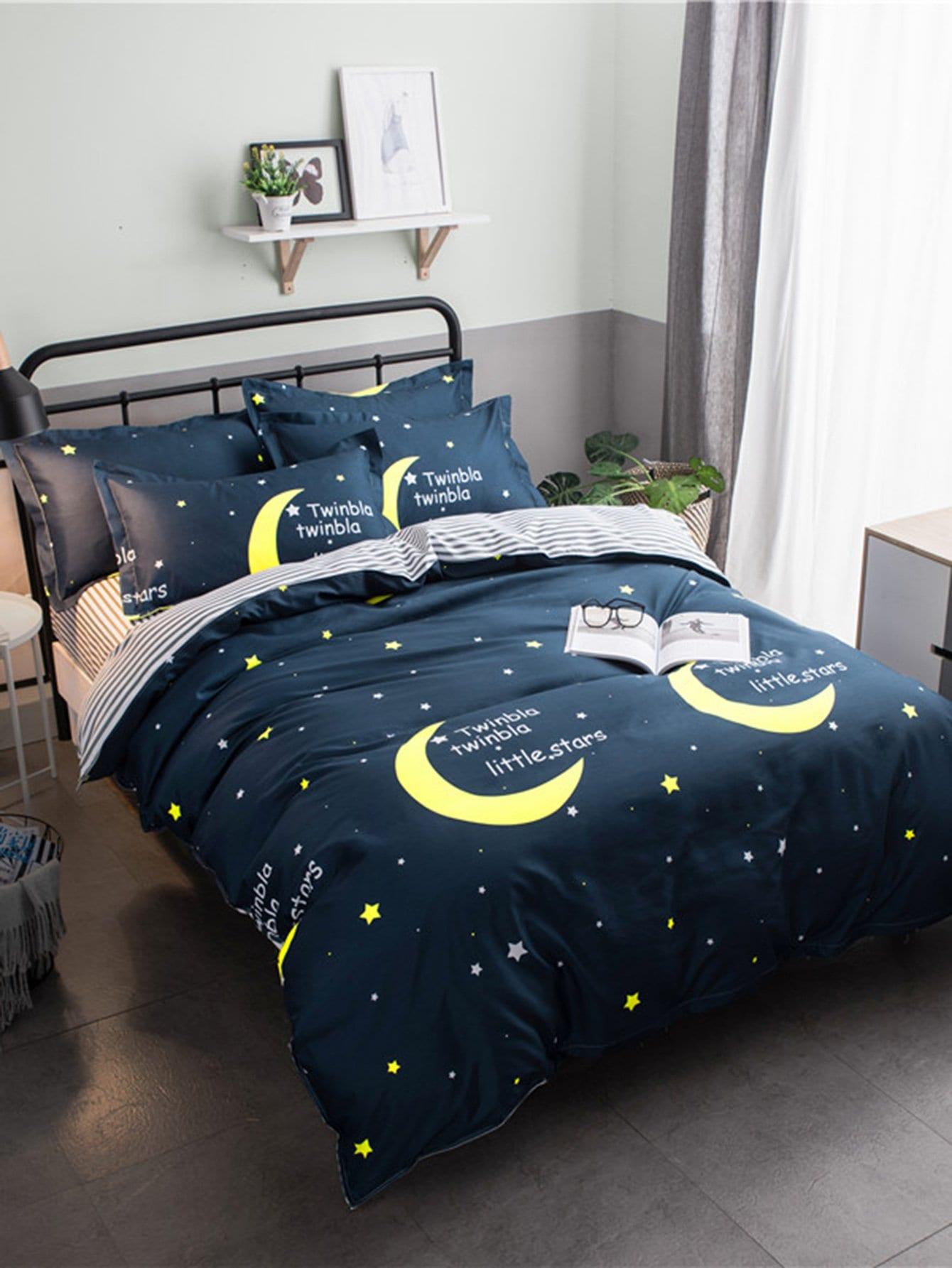 Купить Комплект постельного белья луна и надпись, null, SheIn