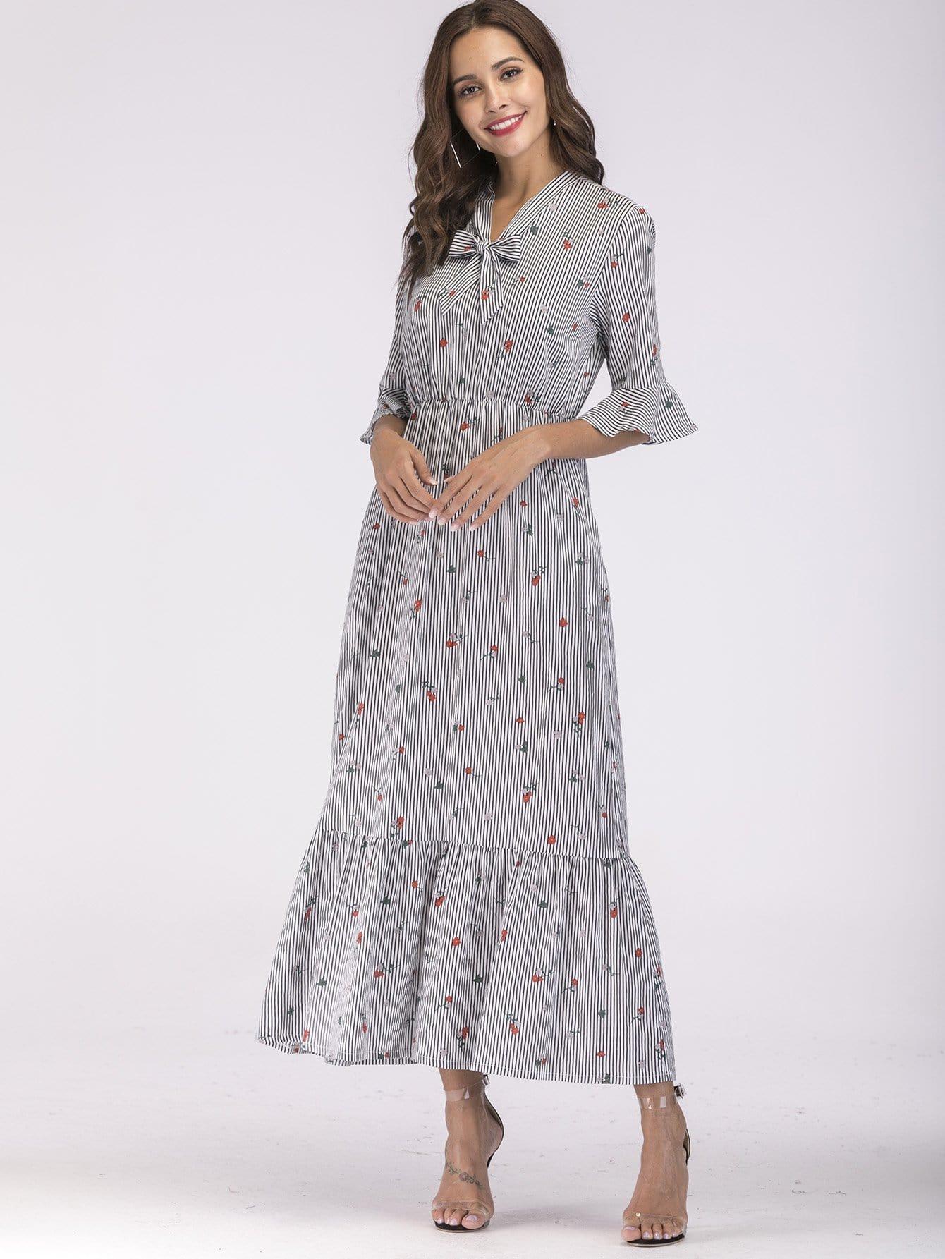 Купить Платье со сборищем, полосками и подолом пеплета на рукавах, null, SheIn