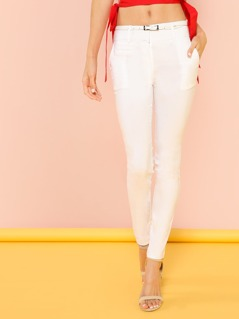 Belted Skinny Leg Pants