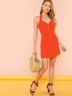 Halter Strap Button Up Dress with Pockets