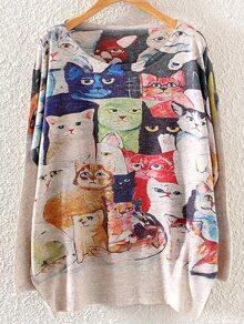 Cat Print Drop Shoulder Cocoon Jumper