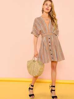 Stripe Open Back Mini Dress