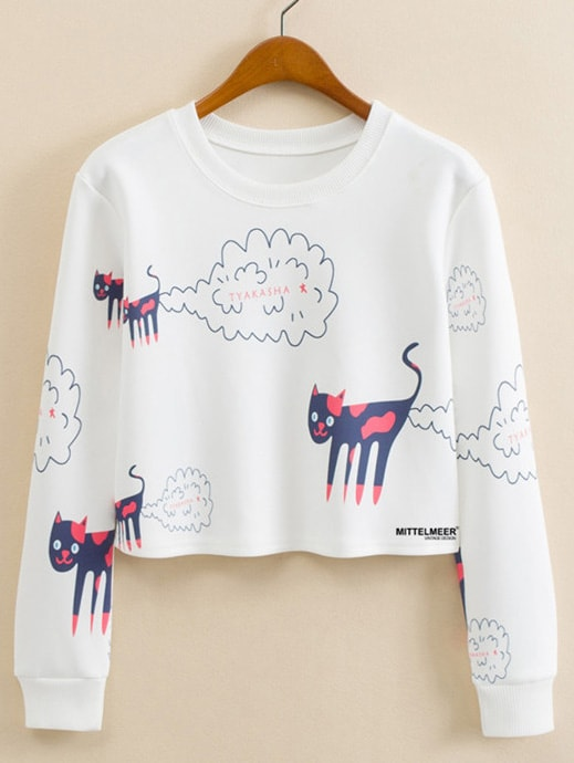Cartoon Print Crop Pullover letter print crop pullover