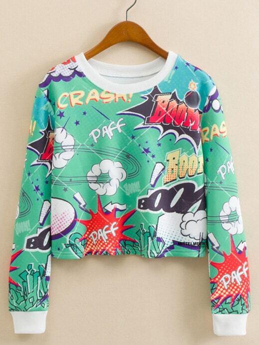 Повседневный Мультяшный принт Пуловеры Зеленый Свитшоты