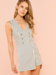 Pinstripe Overlap Romper with Button Detail