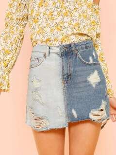 Contrast Distressed Denim Mini Skirt