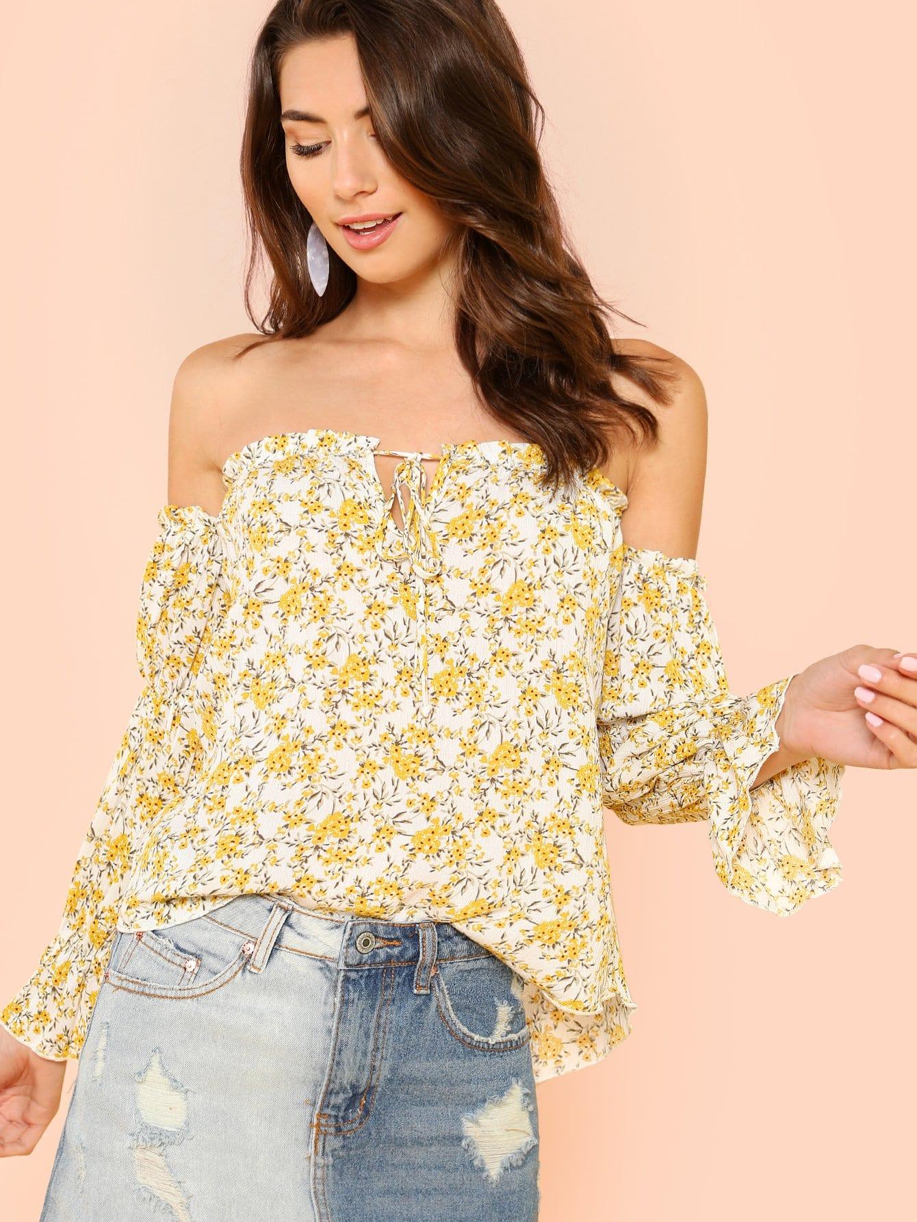 Купить Цветочная печать на плечевой блузке, Zandria Theis, SheIn