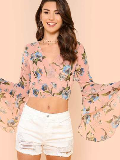 Bell Sleeve Floral Print Sheer Wrap Top