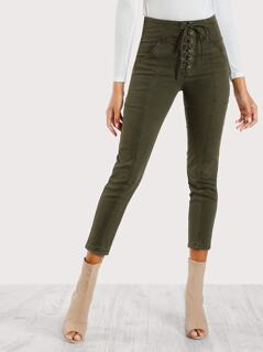 Lace Up Front Skinny Cargo Pants