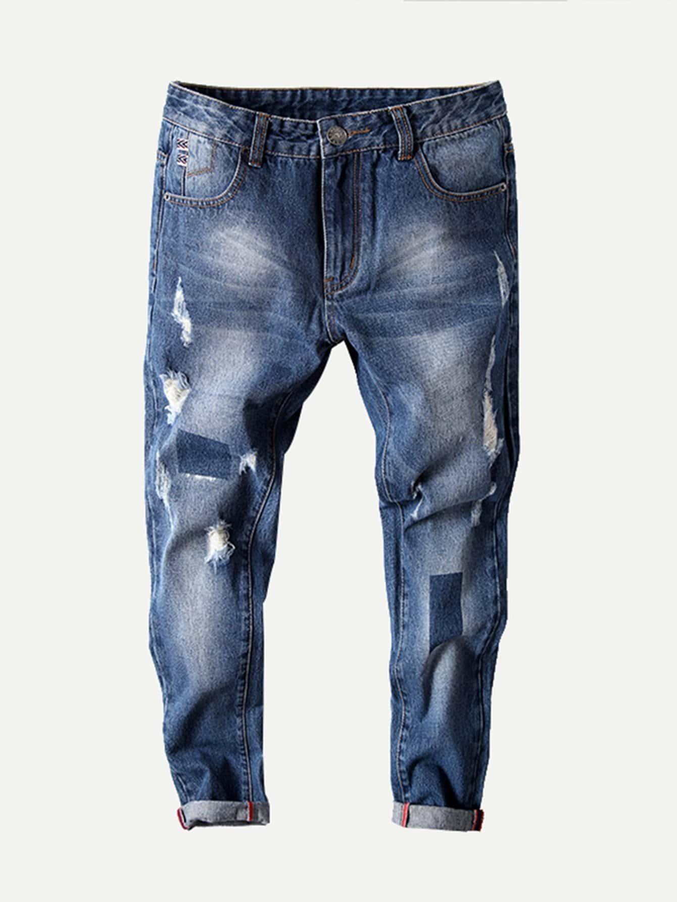 Men Rolled Hem Old Destroyed Jeans цена 2017