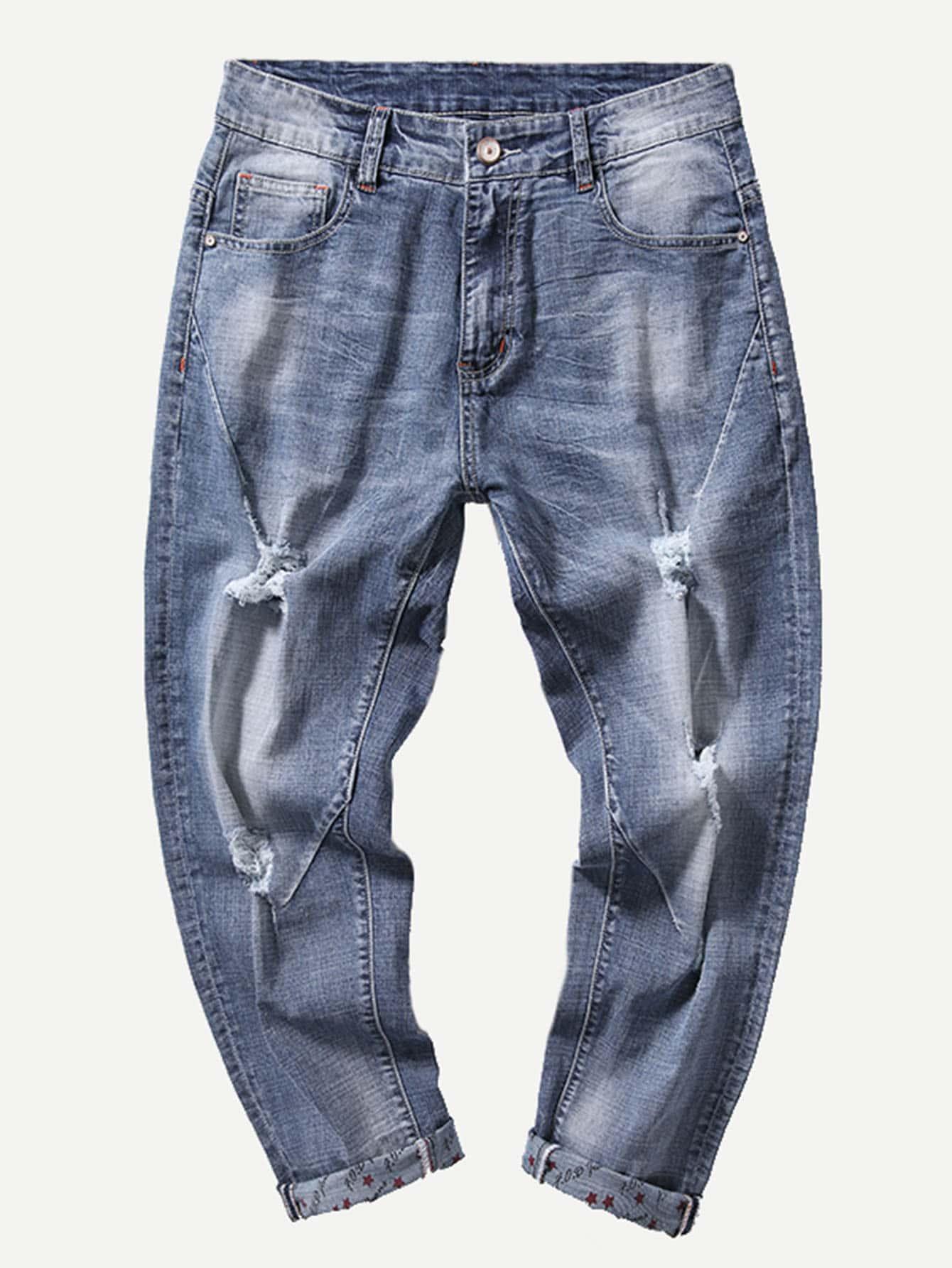 Men Rolled Hem Wash Destroyed Jeans