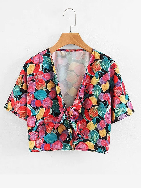 All Over Florals Knot Crop Blouse all over florals wrap blouse