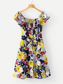 All Over Florals Belted Ruffle Dress