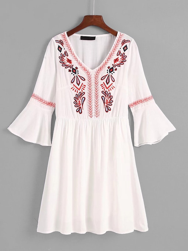 Flounce Sleeve Embroidered Dress flounce sleeve embroidered mesh dress