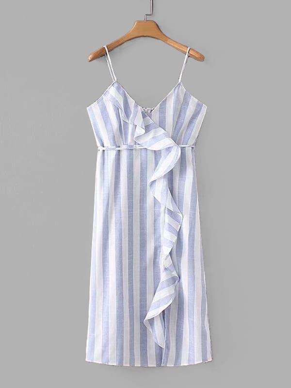 Contrast Stripe Ruffle Cami Dress stripe contrast ruffle hem hooded dress