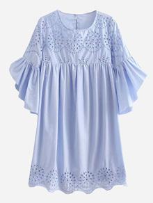 Eyelet Embroidered Ruffle Sleeve Babydoll Dress