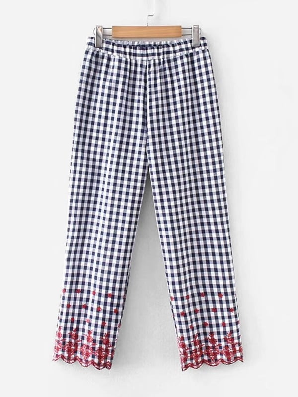 Gingham Embroidery Scallop Hem Pants gingham embroidery scallop hem pants