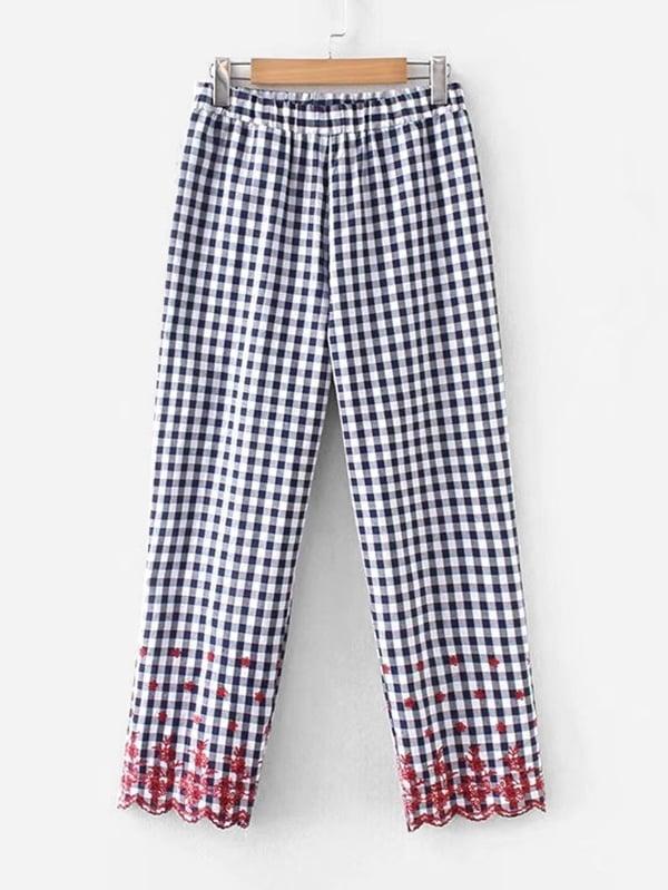 Gingham Embroidery Scallop Hem Pants asymmetric scallop hem flared pants
