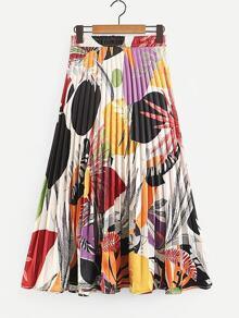 Foliage Print Pleated Skirt