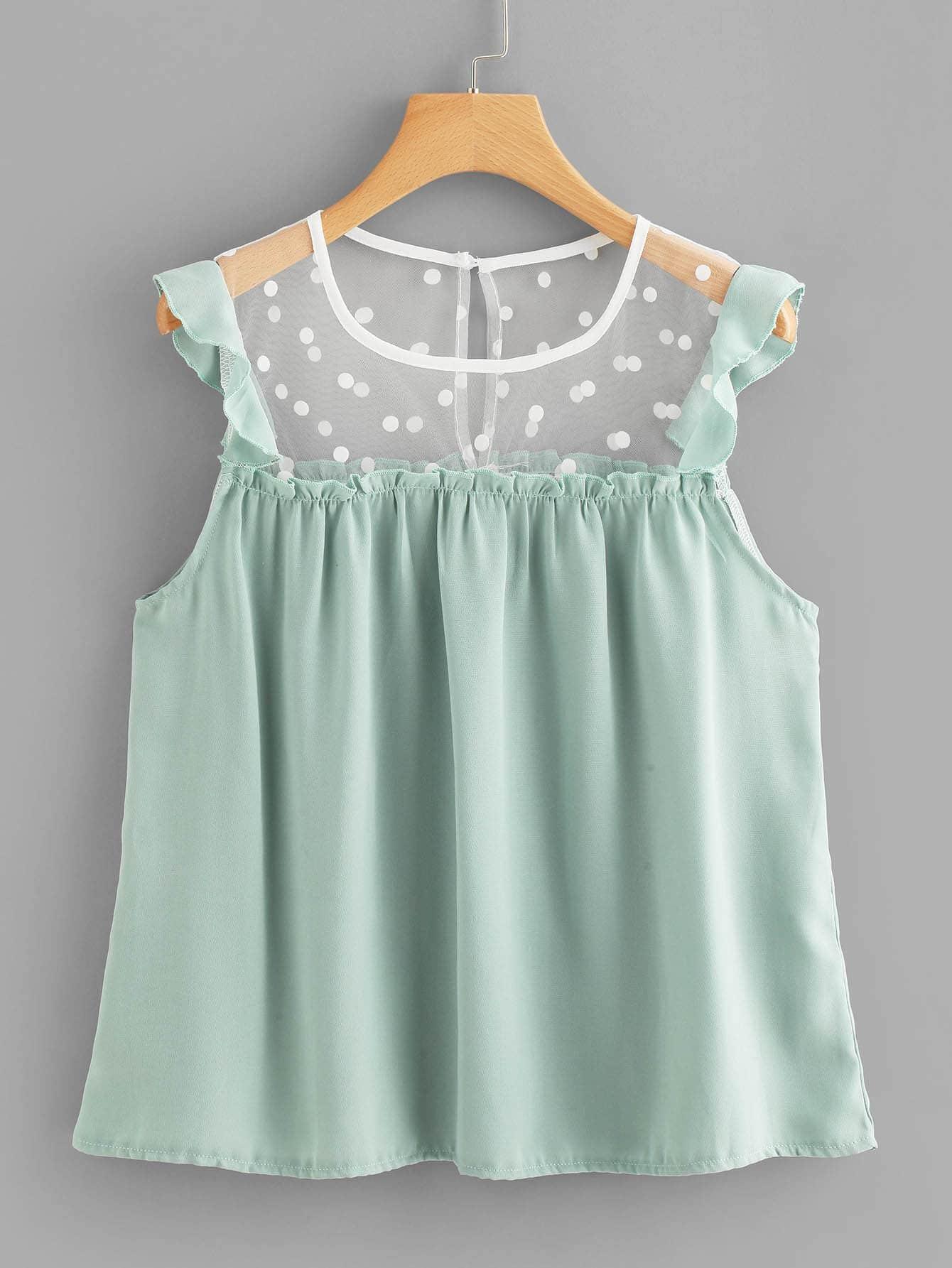 Lace Panel Polka Dot Frill Trim Top girls frill trim polka dot dress