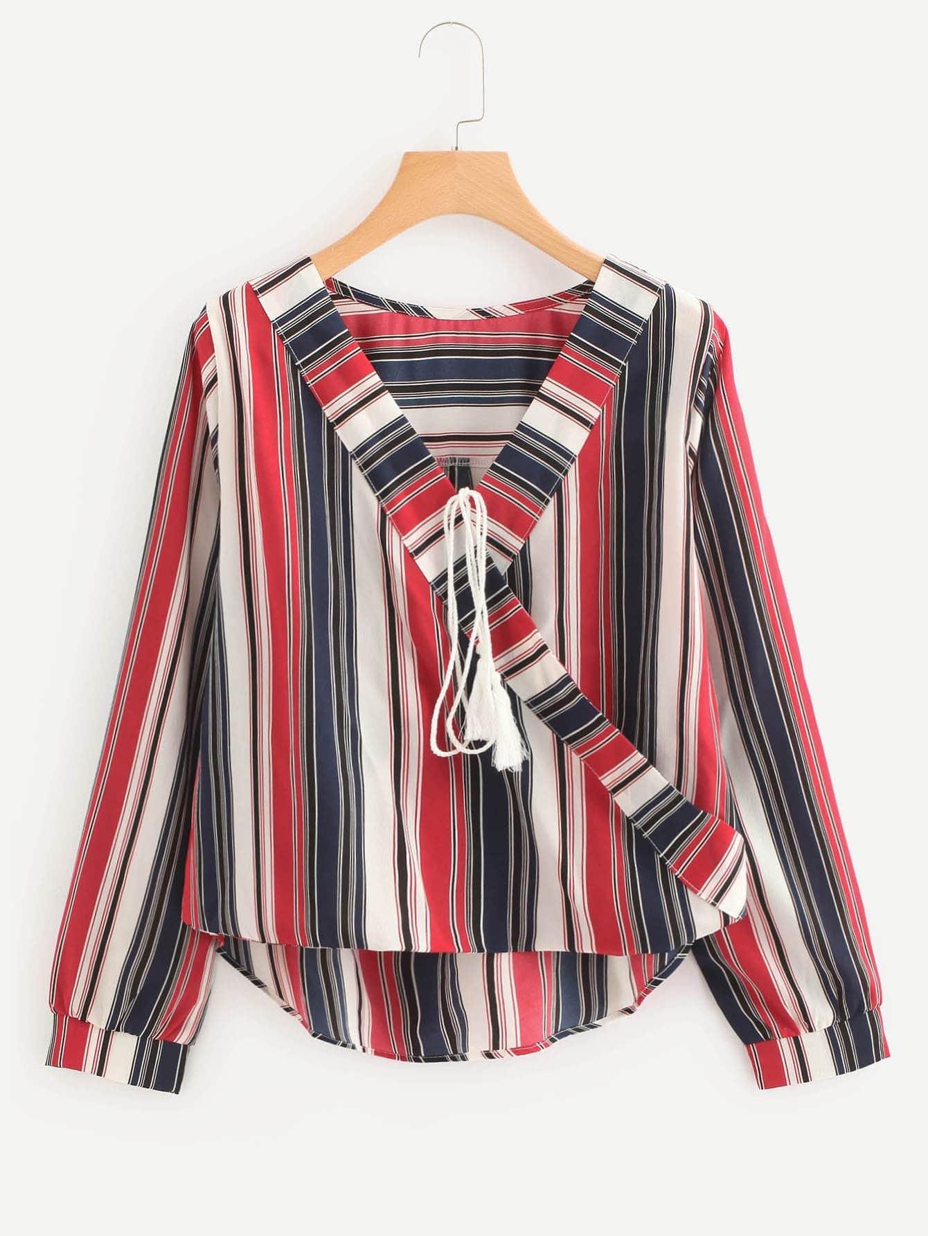 Contrast Striped Surplice Neckline Tassel Tie Blouse contrast striped v neckline flute sleeve blouse