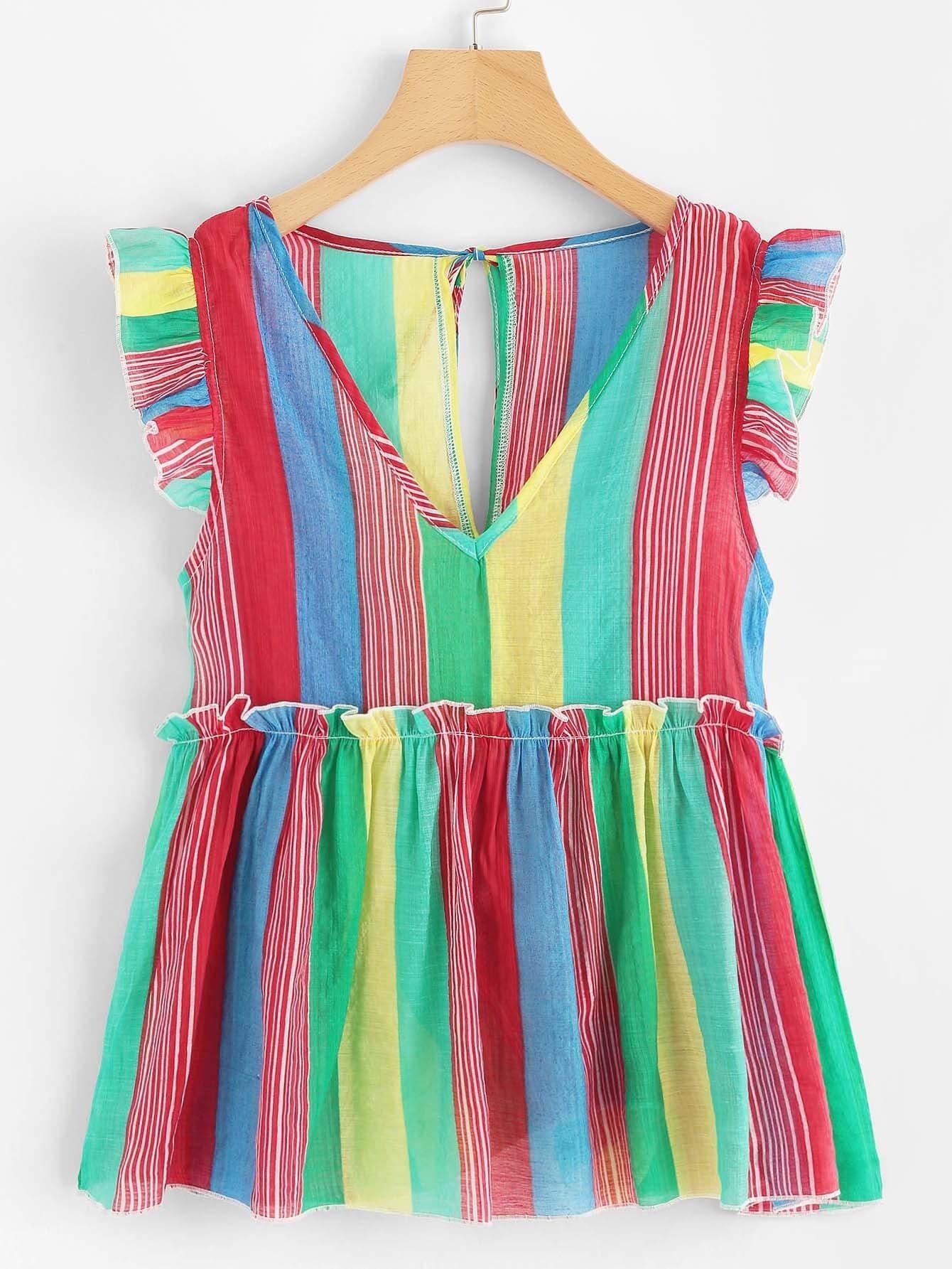 V Neckline Frill Trim Striped Top v neckline frill trim striped top