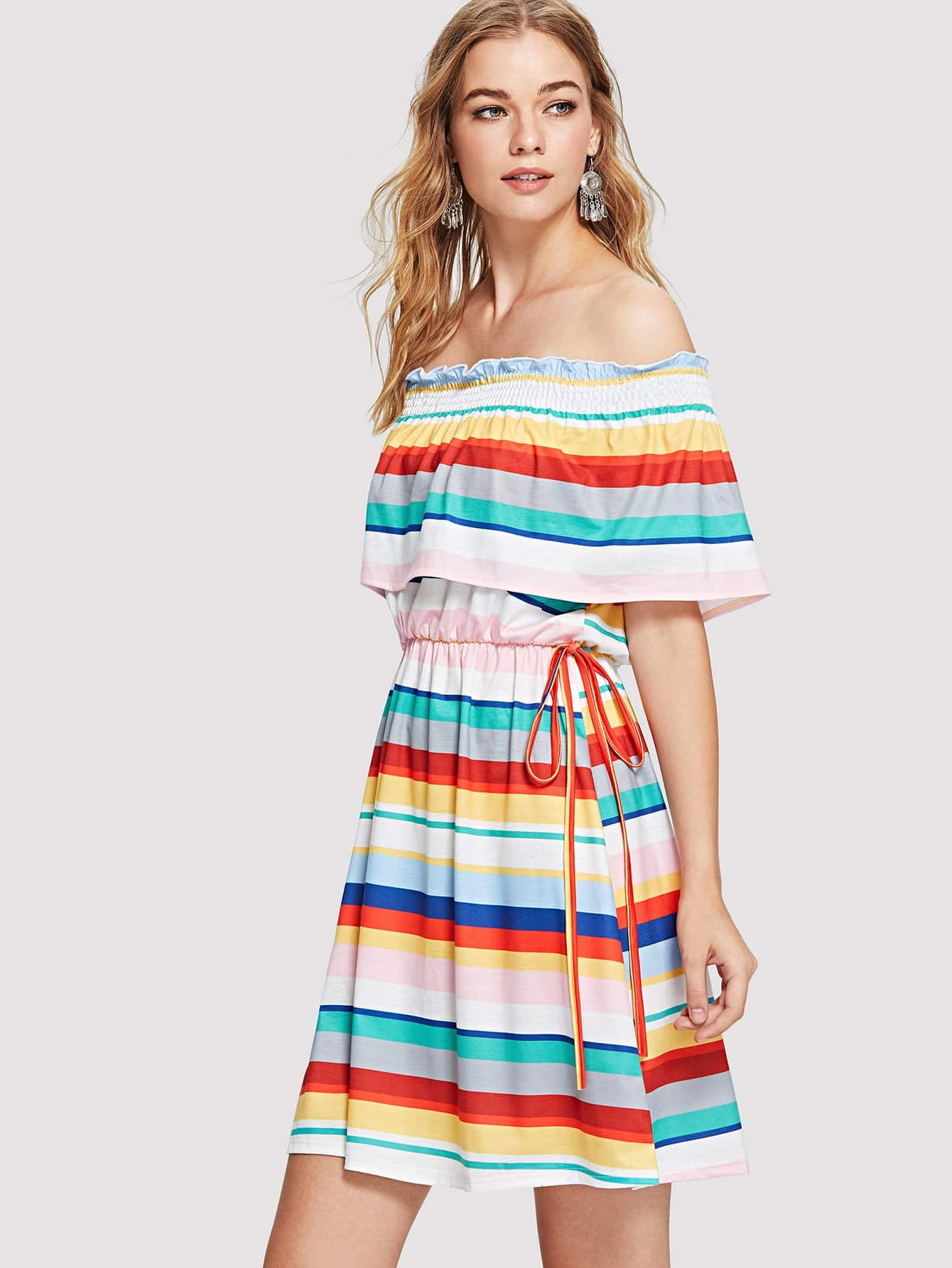 Off Shoulder Striped Tiered Dress striped tiered mesh sleeve off shoulder dress