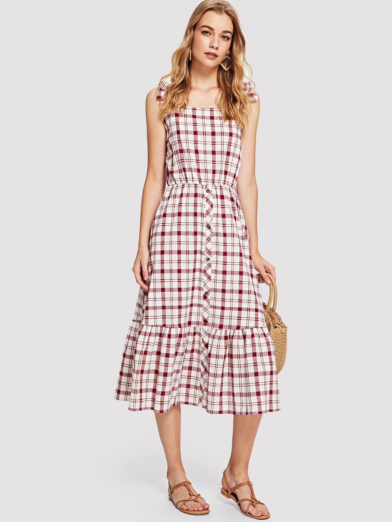 Ruffle Hem Checked Dress dls mb6i white