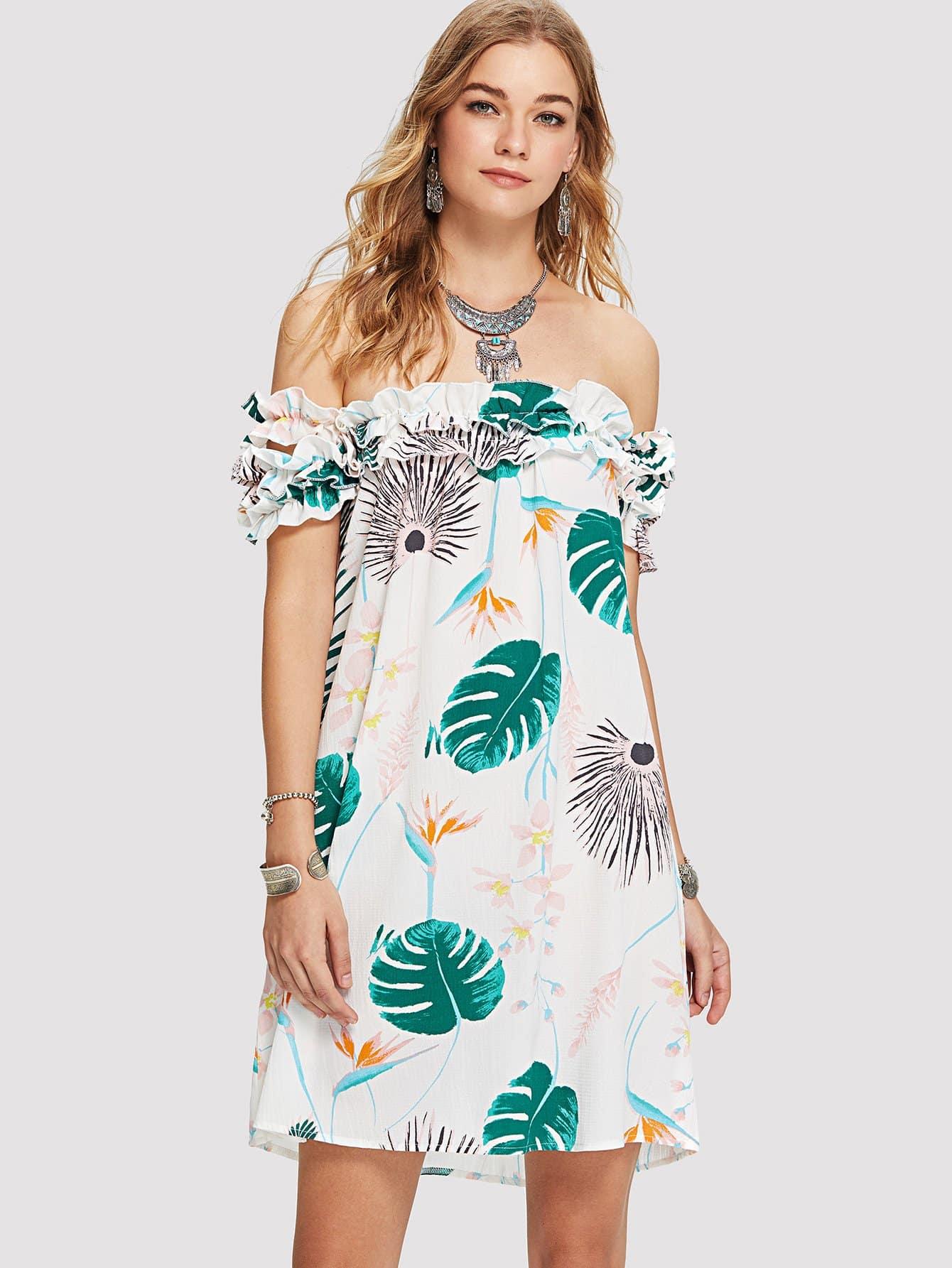 Off Shoulder Frill Trim Printed Dress летние шины pirelli 205 55 r16 91v cinturato p1 verde