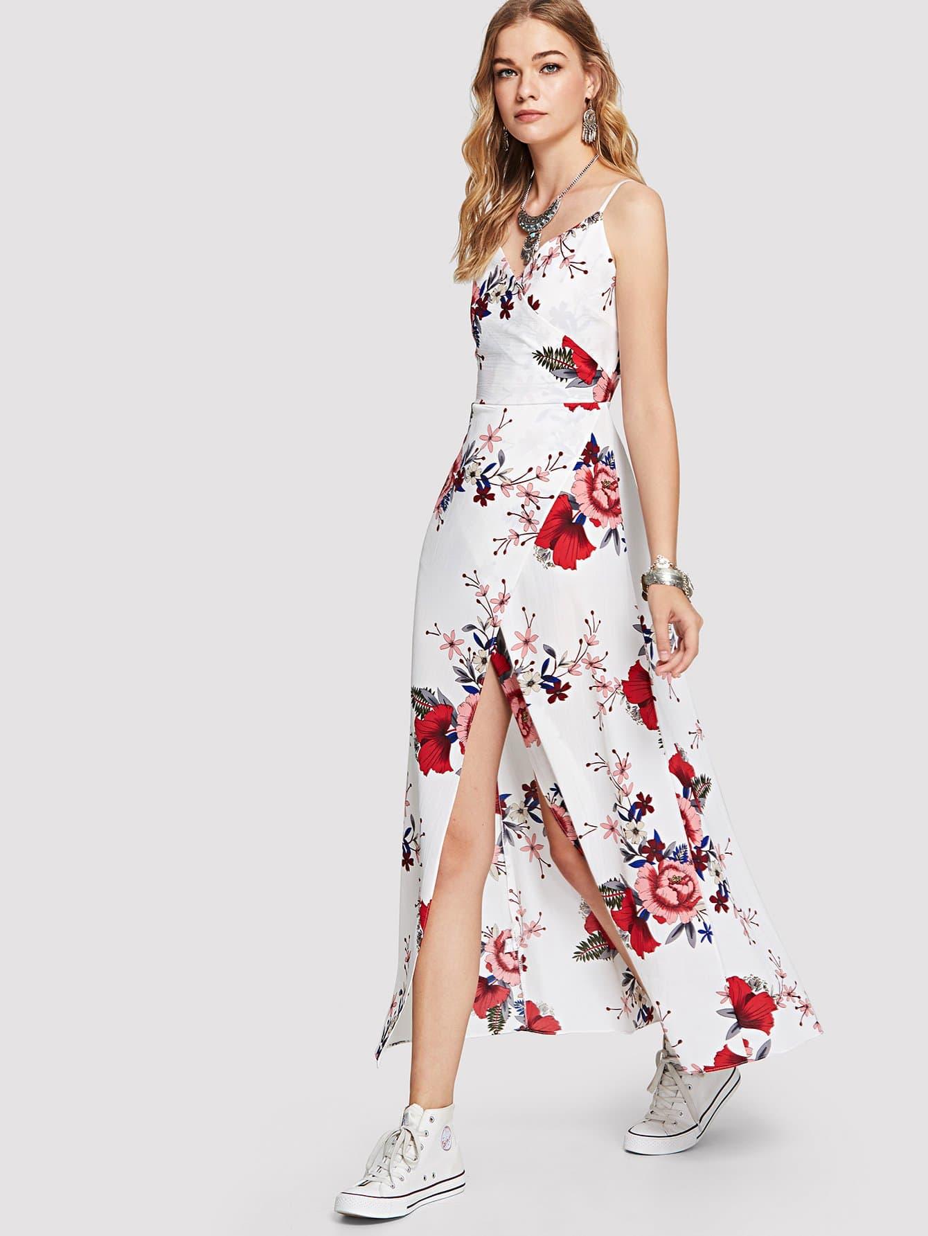 Floral Print Split Cami Dress solid split hem cami dress