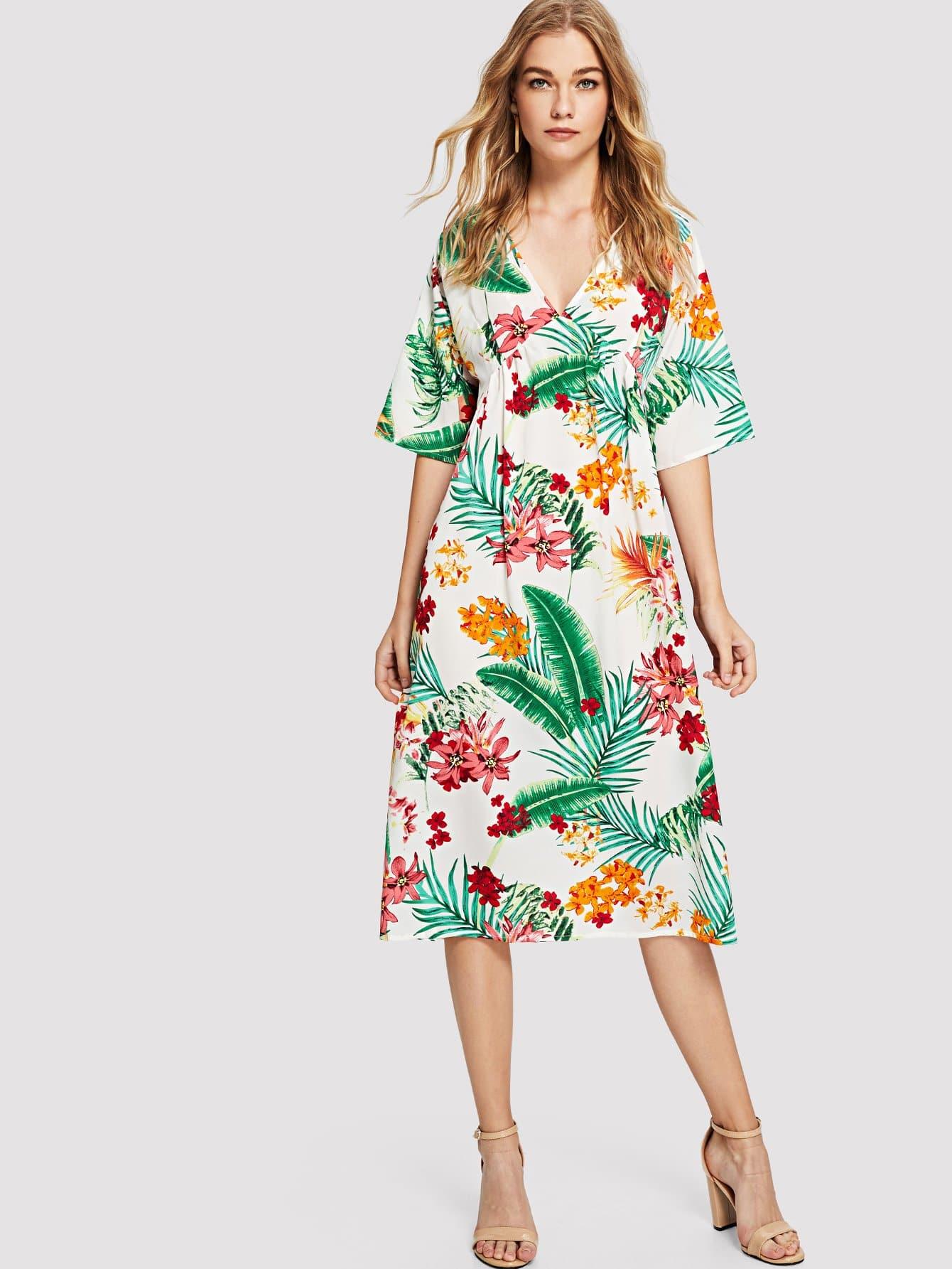 Купить Платье в цветочек с v-образным воротником, Teresa, SheIn