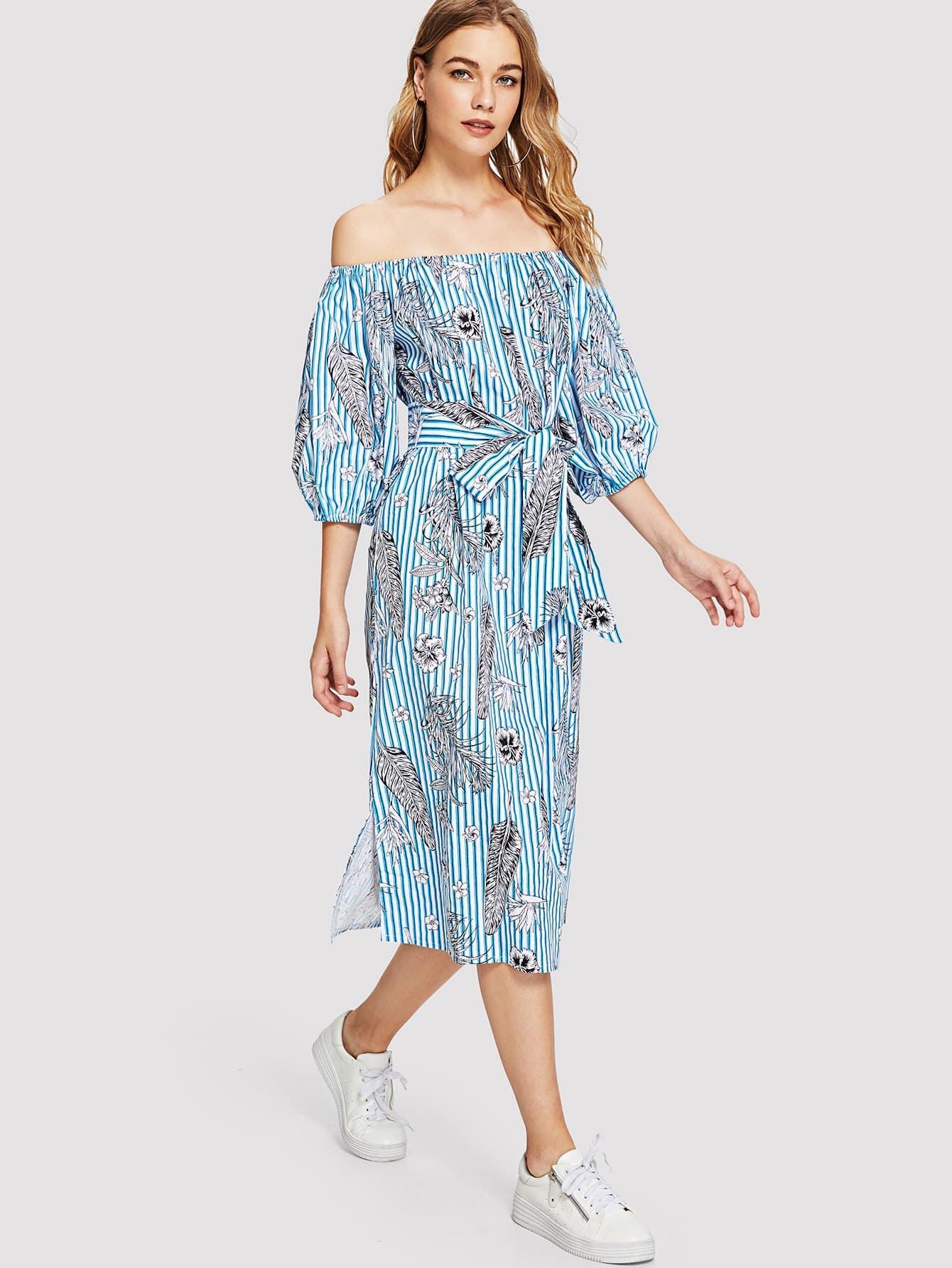 Купить Платье бандо с полосками на веревочке, Teresa, SheIn